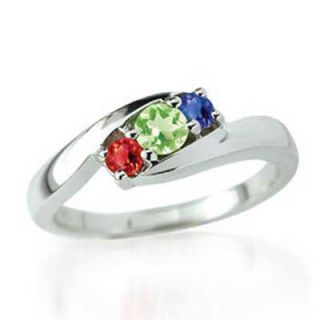 Personalized Birthstone Bypass Mothers Ring in 10K Gold (3 Stones