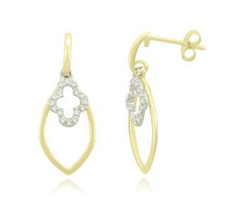 Yellow Gold Plated Sterling Silver Marquise Flower Diamond Earrings (1/10 cttw, I J Color, I2 I3 Clarity) Jewelry