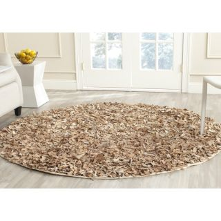 Safavieh Handmade Leather Shag Dark Beige Leather Rug (6 Round)