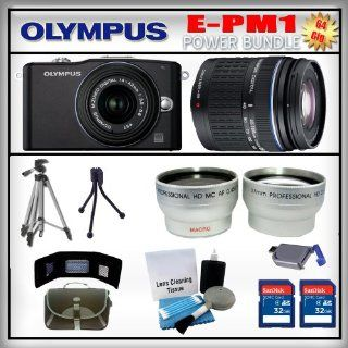 Olympus PEN E PM1 Black 12MP Digital Camera   Olympus 14 42mm Lens   Olympus 40 150mm Lens   Wide Angle and Telephoto Zoom Lens   2x 32GB SDHC Memory Card   USB Memory Card Reader   Memory Card Wallet   Carrying Case   Lens Cleaning Kit   Full Size and Min