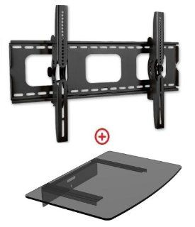 "Mount World 982t43 Universal Tilt Wall Mount for 32""  60"" Flat Panel Plasmal LCD LED Hdtv Bundle Single Glass Shelf for Blu ray, DVD and Avcomponents (Vesa 600x400, Glass Shelf Size 14.17 x 9.84) Electronics"