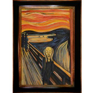 Art Munch The Scream Painting with Opulent Frame, Dark Stained Wood Gold Trim   Oil Paintings