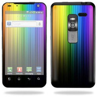 Protective Vinyl Skin Decal Cover for LG Esteem 4G Metro PCS Cell Phone Sticker Skins Rainbow Streaks Cell Phones & Accessories