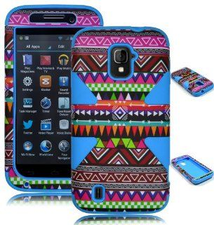 Bastex Heavy Duty Hybrid Dynamic Case for ZTE Source N9511 and ZTE Majesty Z796C   Sky Blue Silicone / Chevron Tribal Aztec Hard Shell Cell Phones & Accessories