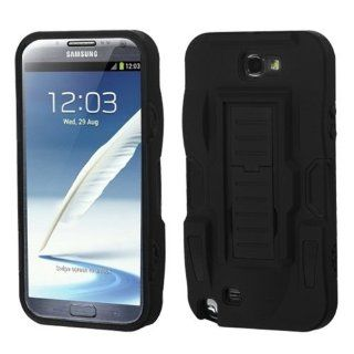 MYBAT ASAMGNIIHPCSAAS801NP Advanced Armor Rugged Durable Hybrid Rubberized Case with Kickstand for Samsung Galaxy Note II   1 Pack   Retail Packaging   Black Cell Phones & Accessories