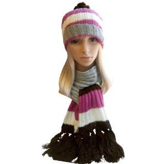 Winter Hat, Scarf Set   Cable Knit Scarf, Slouch Beanie Hat for Women (Brown) Sports & Outdoors