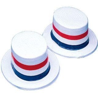 American Patriotic USA Blue White Red Plastic Skimmer Party Hat Toys & Games