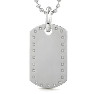 Black & Blue Jewelry Co. Mens Stainless Steel Large Dog Tag Pendant