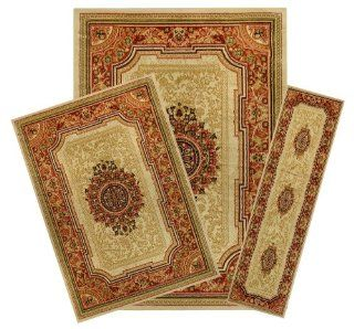 Shop 3 Piece Set Medallion Traditional Red Ivory Area Rug & Runner Ephesus Collection EPH4012 at the  Home D�cor Store