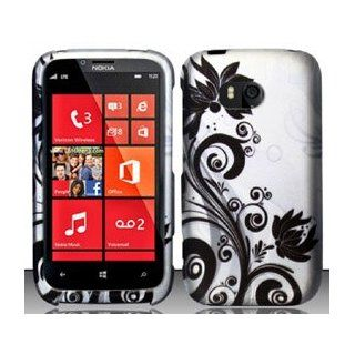 4 Items Combo For Nokia Lumia 822 (Verizon) Black Silver Vines Design Hard Case Snap On Protector Cover + Car Charger + Free Opening Tool + Free American Flag Pin Cell Phones & Accessories