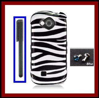 For Samsung U820 Reality Glossy Black White Zebra Design Snap on Case Cover Front/Back + Black Stylus Touch Screen Pen + One FREE Blue 3.5mm Bling Headset Dust Plug Cell Phones & Accessories