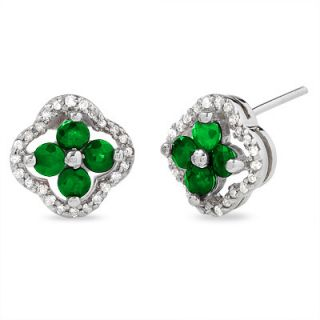 Emerald Clover Earrings in 10K White Gold with Diamond Accents   Zales