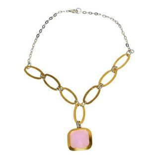 Sterling Silver Necklace Pendant Gold Plated Tow Tone Chain Rose Quartz Gemstone Jewelry Jewelry