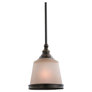 Sea Gull Lighting 61330 825 Warwick One Light Mini Pendant, Vintage Bronze Finish with Smoky Parchment Glass   Ceiling Pendant Fixtures