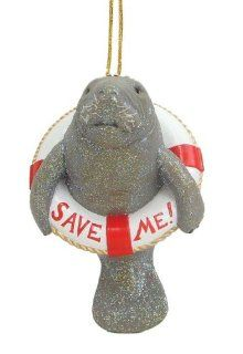 Save Me Manatee Sea Cow Lifesaver Ring Ornament by December Diamonds   Decorative Hanging Ornaments