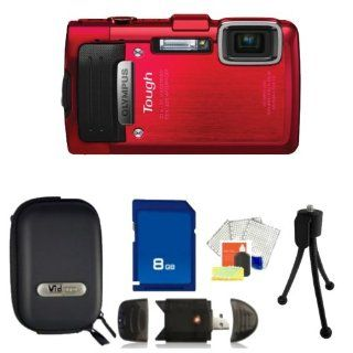 Olympus TG830 iHS Digital Camera (Red) Kit. Includes 8GB Memory Card, High Speed Memory Card Reader, Table Top Tripod, LCD Screen Protectors, Cleaning Kit & Camera Case  Digital Camera Batteries  Camera & Photo