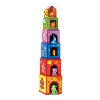 Toy / Game Djeco Stacking Blocks Topanimo Cubes W/ Six Sqeezy Colorful Rubber Animals (For Ages 18 Months & Up) Toys & Games