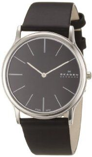 Skagen Men's 858XLSLB Black Dial, Stainless Steel Case, Black Leather Band Watch Skagen Watches
