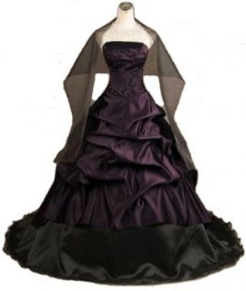 New Embroidery Pleat Beads Tiered Train Purple Black Wedding Dress Prom Gown Clothing