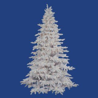 7.5' Pre Lit Flocked White Spruce Full Artificial Christmas Tree   Clear Lights