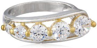 18k Yellow Gold Plated Sterling Silver Two Tone Simulated Diamond Journey Ring, Size 7 Jewelry