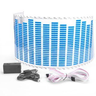 90*25cm Blue Led Light Music Rhythm Sticker Lamp Auto Car Sound Activated Equalizer 12V Decoration Universal Automotive