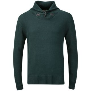 Brave Soul Mens Ribbed Shawl Collar Jumper   Bottle Green      Mens Clothing