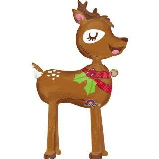 "Adorable Walking Baby Reindeer Holly Bell Fawn Brown Green Red 54"" Balloon Mylar Toys & Games"