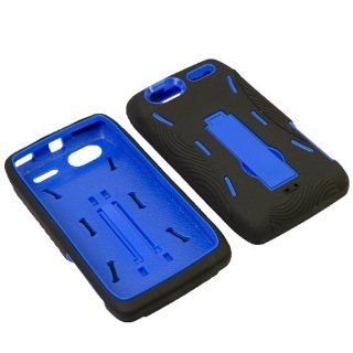 Aimo Wireless MOTXT881PCMX002S Guerilla Armor Hybrid Case with Kickstand for Motorola Electrify 2 XT881   Retail Packaging   Black/Blue Cell Phones & Accessories