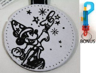 Disney's Mickey Mouse Sorcerer Black and White Fabric 2013 Key Chain   (Comes Sealed)   Disney Parks Exclusive & Limited Availability + BONUS Colored Belt Clip Key Chain Included