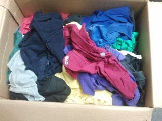 10 LBS BOX OF MULTI COLORED WIPING PALS RAGS, LOW LINT, POLO T SHIRTS, FLEECE BY PLEZALL WIPERS   Hand Towels