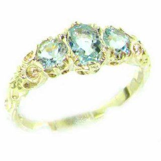 Ladies Solid 14K Yellow Gold Natural Aquamarine English Victorian Trilogy Ring   Finger Sizes 5 to 12 Available   Perfect Gift for Birthday, Christmas, Valentines Day, Mothers Day, Mom, Mother, Grandmother, Daughter, Graduation, Bridesmaid. Jewelry