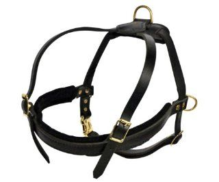 Dean and Tyler The Cowboy Adjustable Straps Leather Dog Harness, Black, Medium   Fits Girth Size 26 Inch to 34 Inch  Pet Halter Harnesses