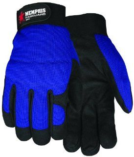 MCR Safety 904M Fasguard Thermosock Lining Synthetic Leather Palm Multi Task Gloves with Spandex Back and Adjustable Wrist Closure, Blue/Black, Medium, 1 Pair   Work Gloves