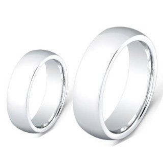 Men & Women's 8MM/6MM Cobalt Chrome High Polished Domed finished Wedding Band Ring Set (Available Sizes 6 12 Including Half Sizes) Please e mail sizes Wedding Rings Set For Him And Her Jewelry