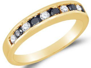 10K Yellow Gold Channel Set Round Brilliant Cut Black and White Diamond Ladies Womens Wedding Band OR Anniversary Ring (.53 cttw.) Jewelry