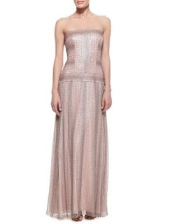 Womens Strapless Reptile Print Gown with Drop Waist, Pale Pink/Gray   Tadashi