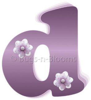 """d"" Purple Daisy Flower Alphabet Letter Name Initial Wall Sticker   Decal Letters for Children's, Nursery & Baby's Room Decor, Baby Name Wall Letters, Girls Bedroom Wall Letter Decorations, Child's Names. Flowers Mural Walls Decal"