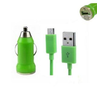 Generic Mini car charger + Micro USB Data Charger cable for Blackberry Sony Motorola Color Green Cell Phones & Accessories