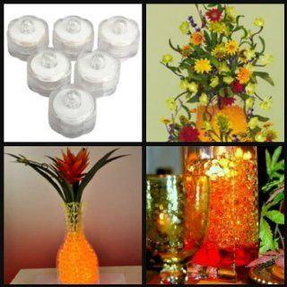 BUNDLE(2) Heat Sealed Packaging for Freshness 4 Oz. ORANGE Jelly BeadZ (Tm) gel soil Water Beads + 6 PCS WHITE Submersible LED Lights Wedding Centerpiece Package   Party Table Centerpieces