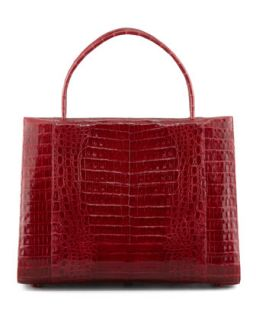 A Frame Expandable Crocodile Tote Bag, Red   Nancy Gonzalez