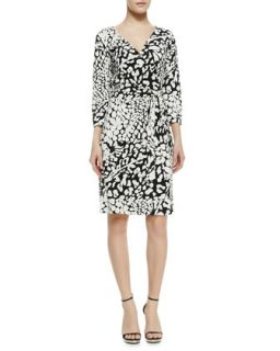 Womens New Julian Two Feather & Leopard Print Wrap Dress   Diane von