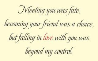 Meeting you was fate, becoming your friend was a choice, but falling in love with you was beyond my control. Vinyl wall art Inspirational quotes and saying home decor decal sticker   Free Kindle Books Romance