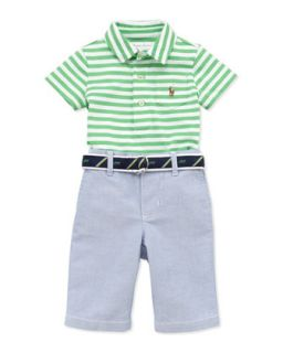 Stripe Jersey Polo & Oxford Pants Set, 9 24 Months   Ralph Lauren Childrenswear