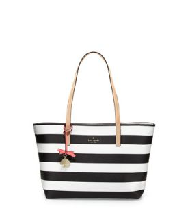hawthorne lane ryan striped tote bag, black/cream   kate spade new york