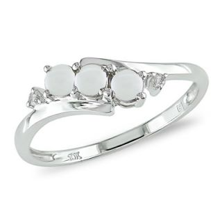 Opal Three Stone Slant Ring in 10K White Gold with Diamond Accents