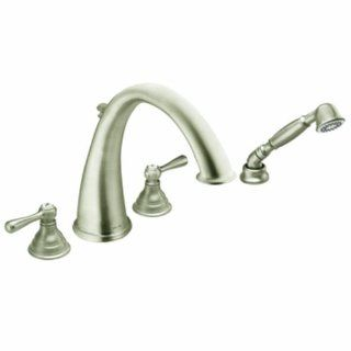 Moen T922BN Kingsley Two Handle High Arc Roman Tub Faucet and Hand Shower without Valve, Brushed Nickel
