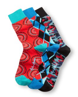 3 Pair Mens Socks Boxed Set, Red/Blue/Multi   Arthur George by Robert