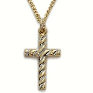 "24K Gold Over .925 Sterling Silver Cross Pendant Necklace in a 2 Tone and Swirl Design Christian Jewelry Women's Religious Jewelry Gift Boxed.w/Chain Necklace 18"" Length Gift Boxed. Jewelry"