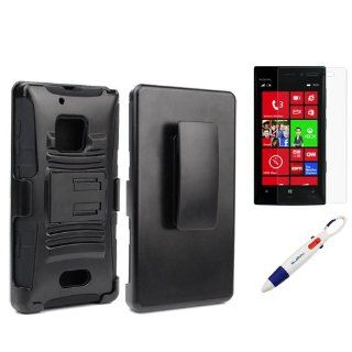 BIRUGEAR Holster Cover Case with Kick Stand and Clear Screen Protector for Nokia Lumia 928 (Verizon) with *4 Color Clip Pen*   Black Cell Phones & Accessories